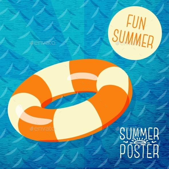 GraphicRiver Cute Summer Poster Orange Lifebuoy In Water 11371234