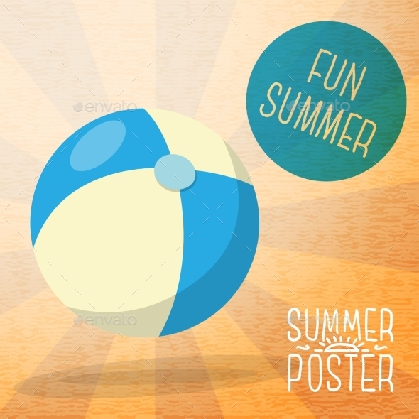 GraphicRiver Cute Summer Poster Blue And Yellow Striped Beach 11371282