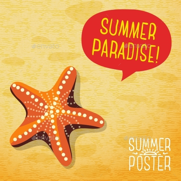 GraphicRiver Cute Summer Poster Ocean Starfish On The Beach 11371333