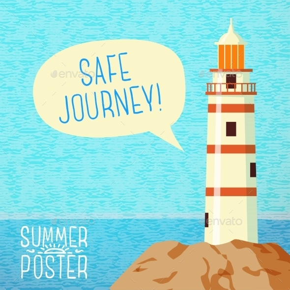GraphicRiver Cute Summer Poster Sea Beacon On The Rock 11371337