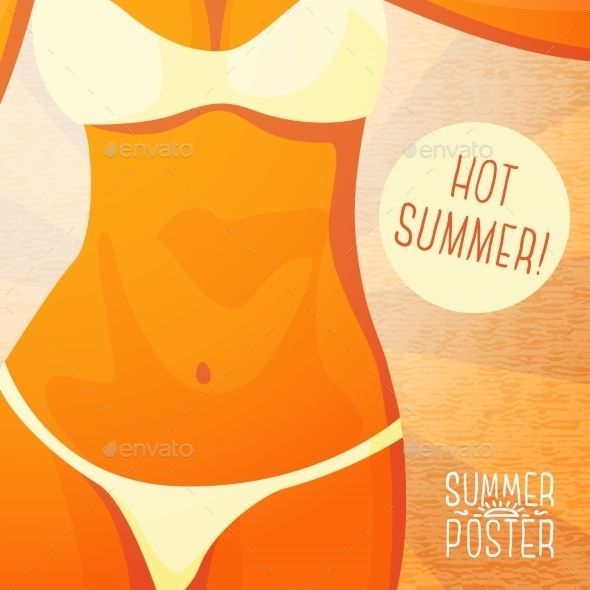 GraphicRiver Cute Summer Poster Bikini Girl On The Beach 11371342