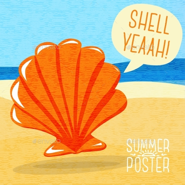 GraphicRiver Cute Summer Poster Sea Shell On The Shore 11371346