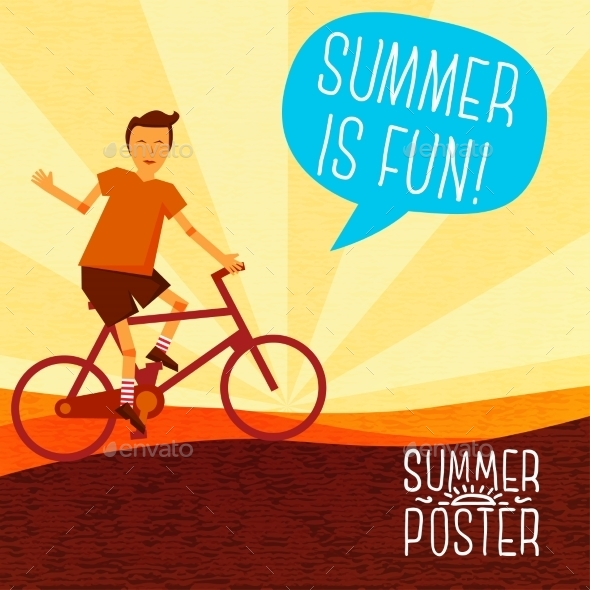 GraphicRiver Cute Summer Poster Bike Riding With Speech 11371357