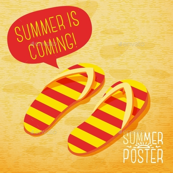 GraphicRiver Cute Summer Poster Slippers On The Beach 11371391