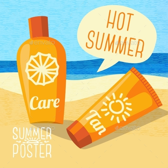 GraphicRiver Cute Summer Poster Sun Care Creams On The Beach 11371406