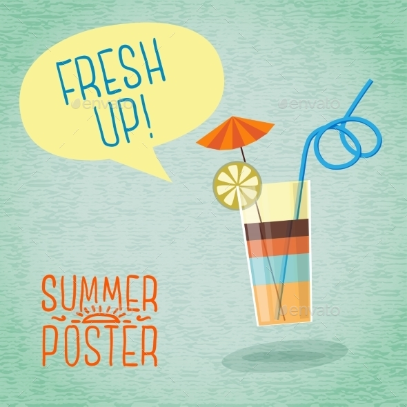 GraphicRiver Cute Summer Poster Cocktail With Umbrella Lemon 11371416