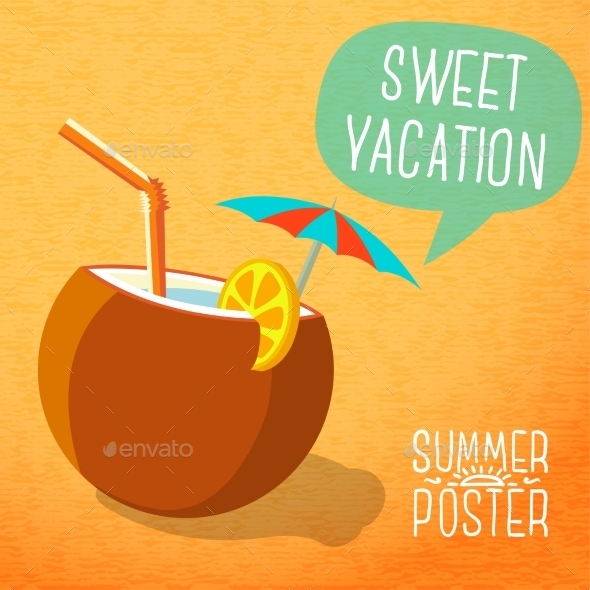 GraphicRiver Summer Poster Beach Cocktail in Coconut 11371435