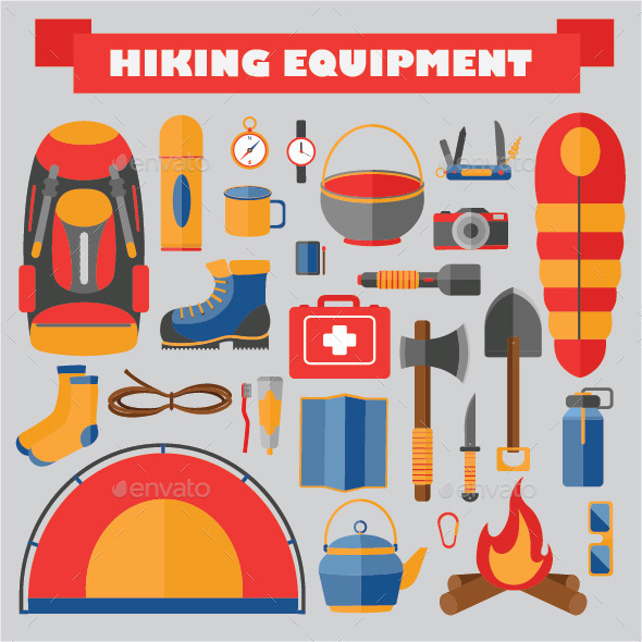 GraphicRiver Set of Hiking and Camping Equipment 11354204