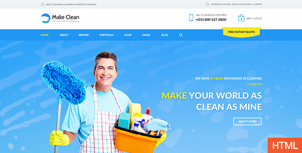 ThemeForest Make Clean Cleaning Company HTML Template 11372647
