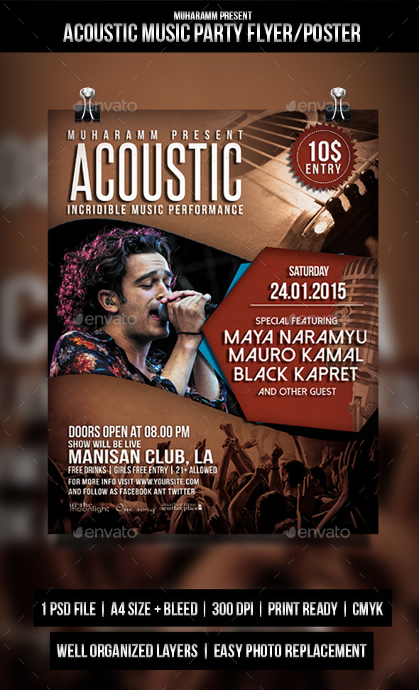 GraphicRiver Acoustic Music Party Flyer Poster 11372680