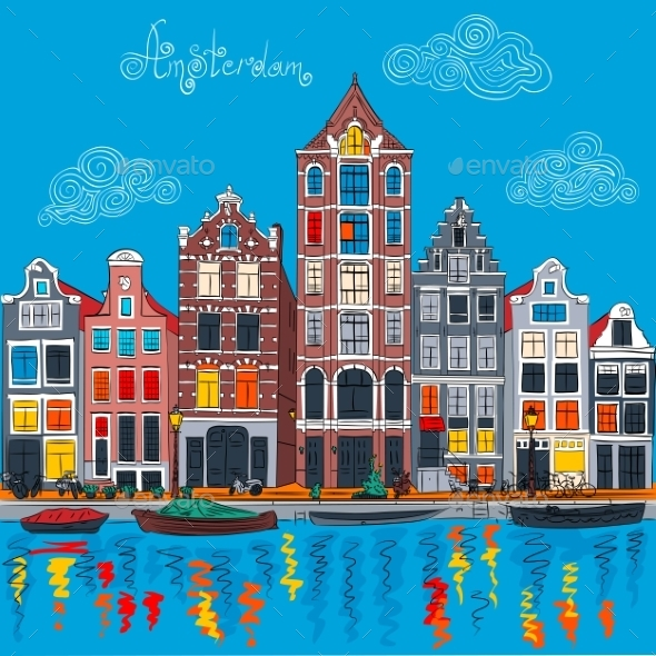 GraphicRiver Amsterdam Canal and Typical Dutch Houses 11372838