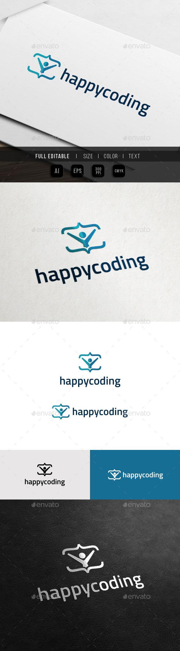 GraphicRiver Happy Coding Code Club Logo 11372903