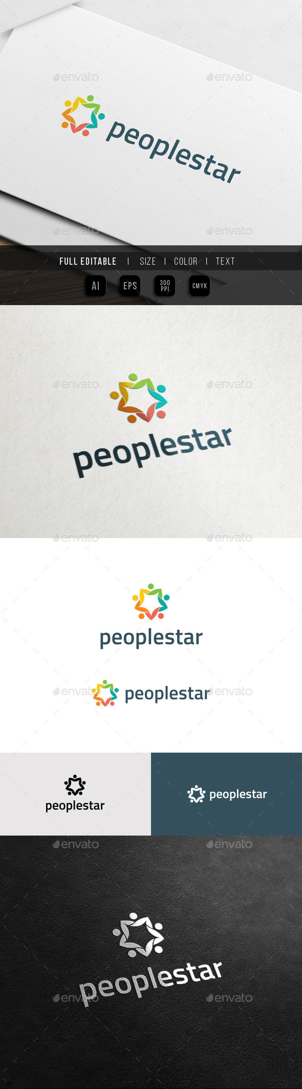 GraphicRiver Eco Star Club Human Network Logo 11372935