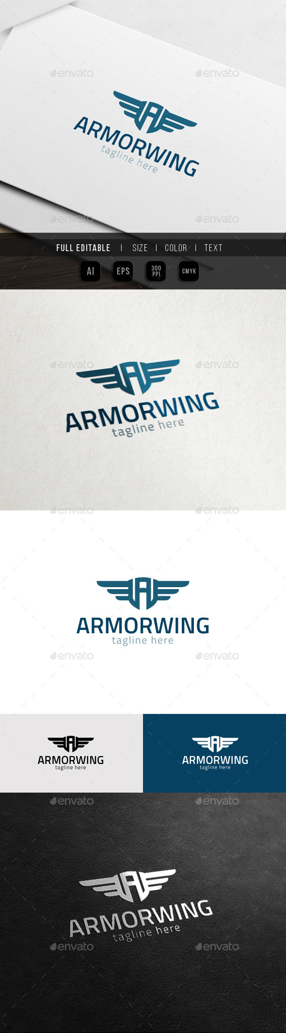 GraphicRiver Armor Wing Army Badge Game A logo 11372987
