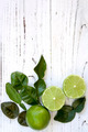 Kaffir Lime Leaves and Fruit Food Background - PhotoDune Item for Sale