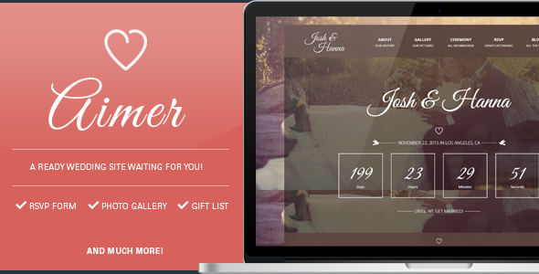 ThemeForest Aimer Wedding template for lovers 11308572