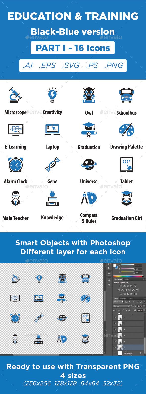 GraphicRiver Education & Training Icons Black-Blue Part 1 11373053