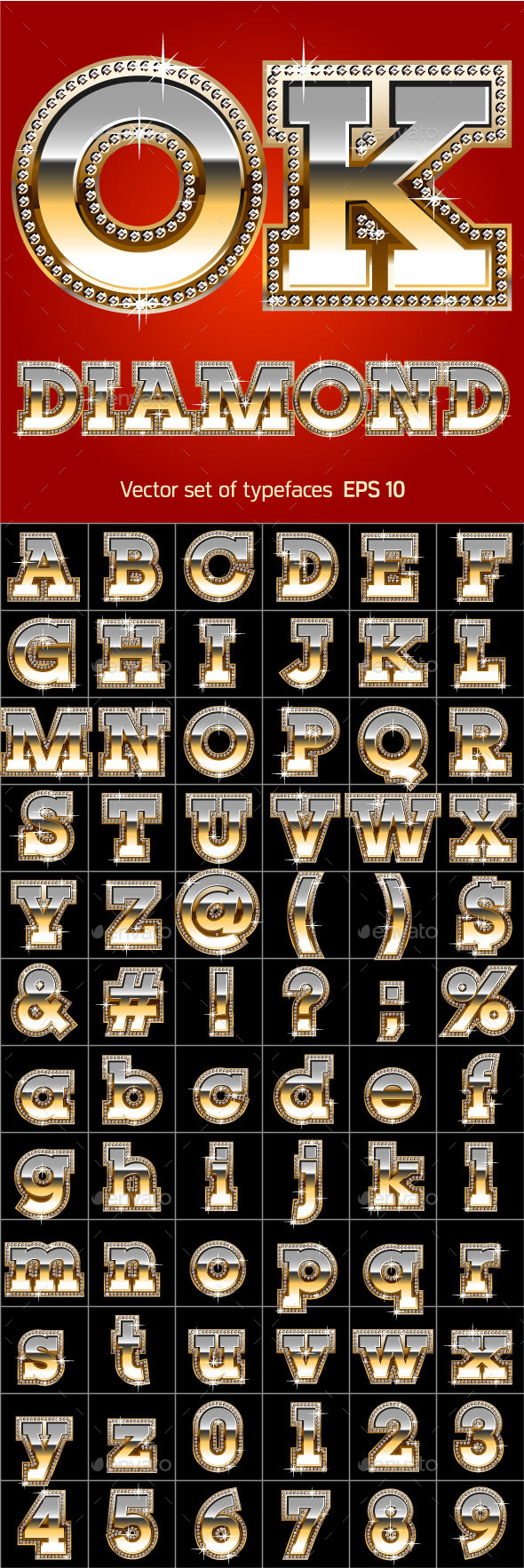 GraphicRiver Luxury Font in Gold Color with Diamond Border 11373062