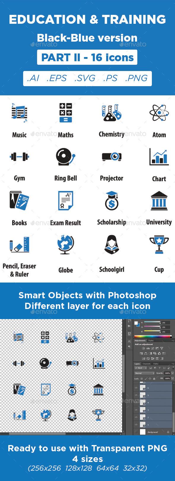 GraphicRiver Education & Training Icons Black-Blue Part 2 11373082