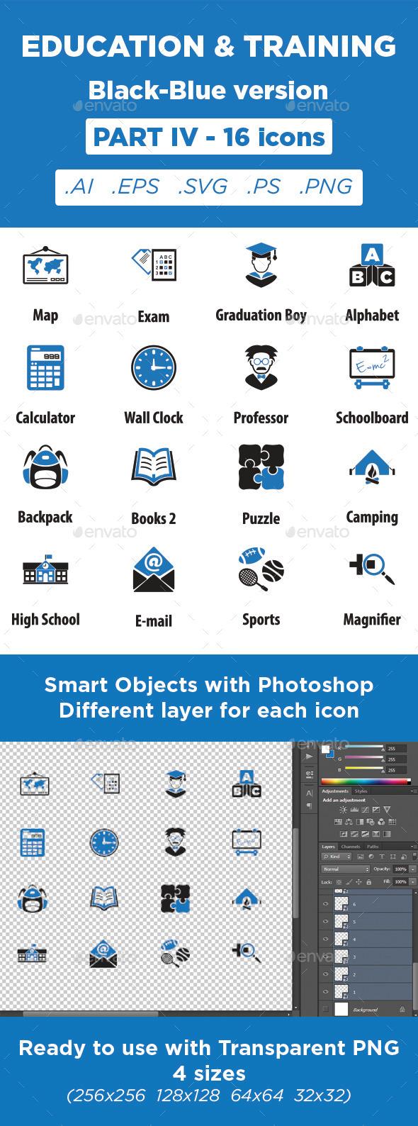 GraphicRiver Education & Training Icons Black-Blue Part 4 11373192