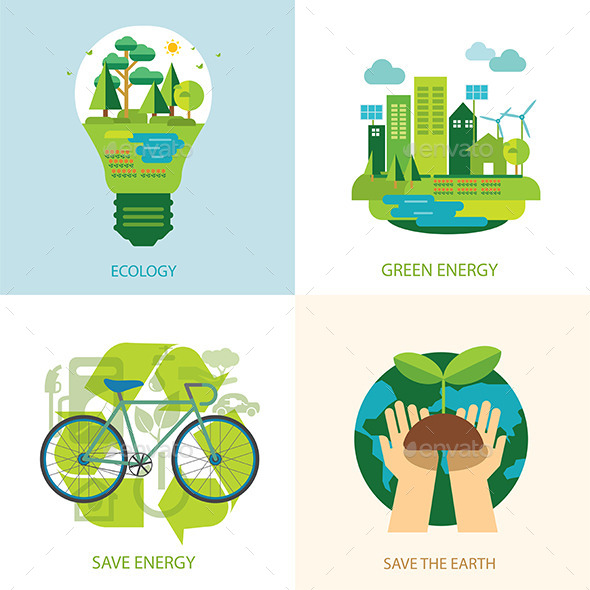 GraphicRiver Save the World and Clean Energy Concept 11373193
