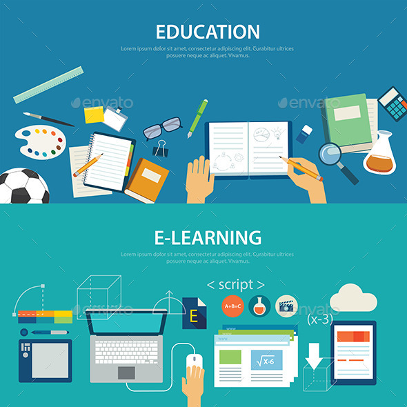 GraphicRiver Concepts of Education and E-learning Flat Design 11373195