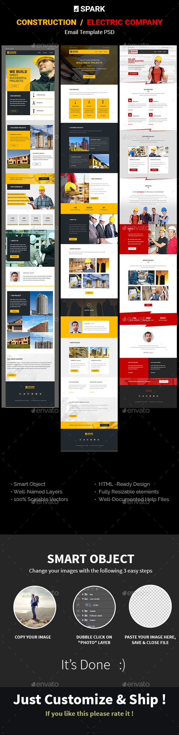 GraphicRiver SPARK Construction Electrician Email Template 11374440