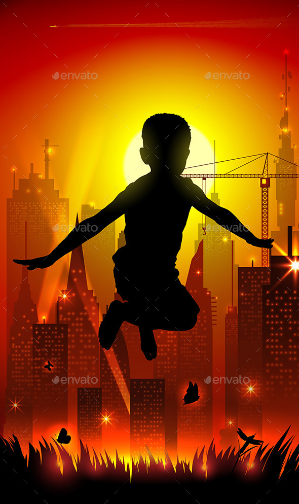 GraphicRiver Jumping Boy On Background Of The Cityscape 11374809
