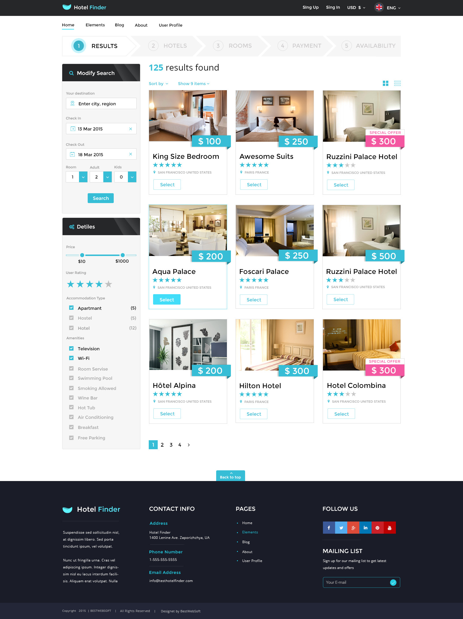 Hotel finder online booking psd template by bestwebsoft for Hotel search