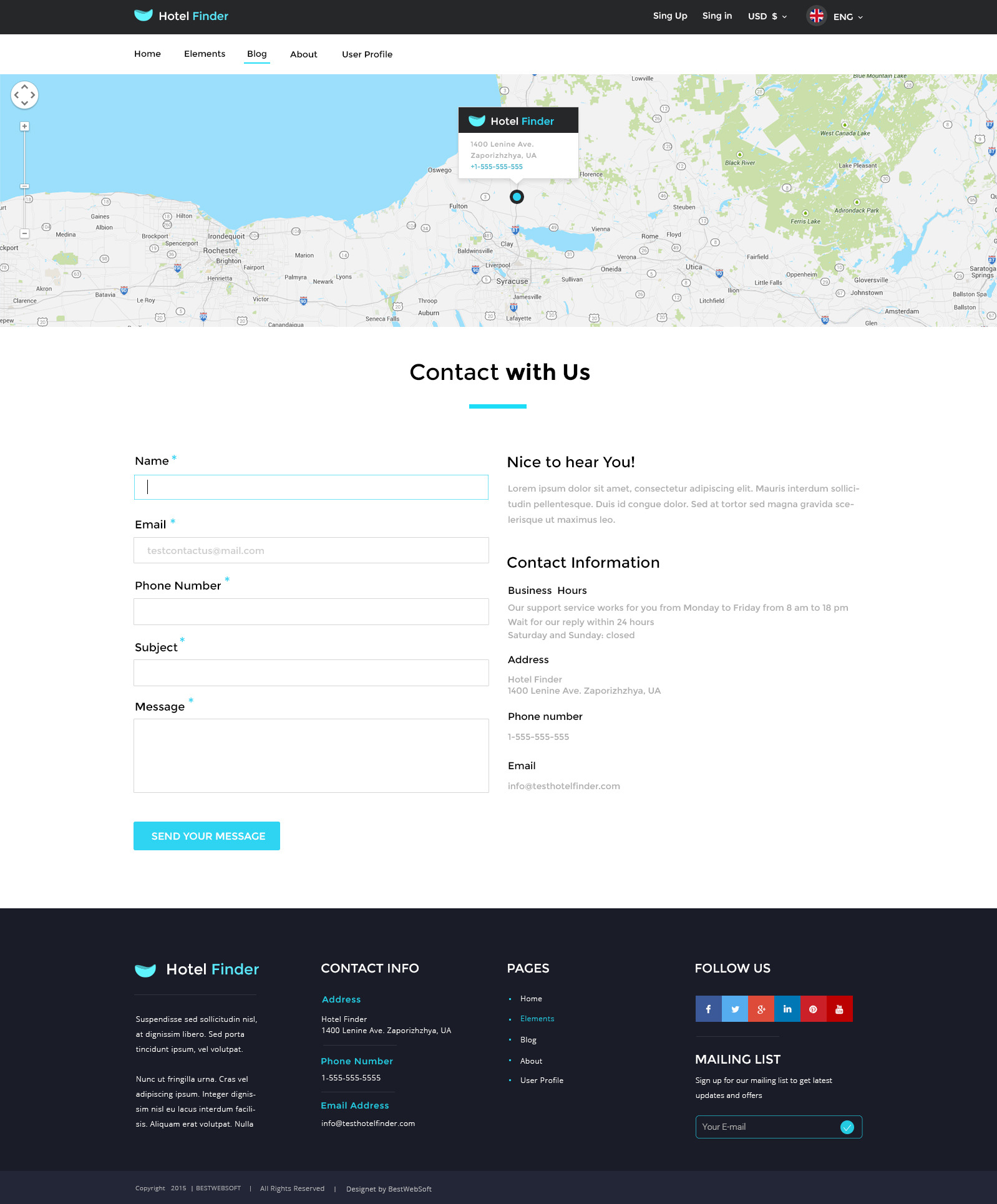 Hotel finder online booking psd template by bestwebsoft for Contact us php template