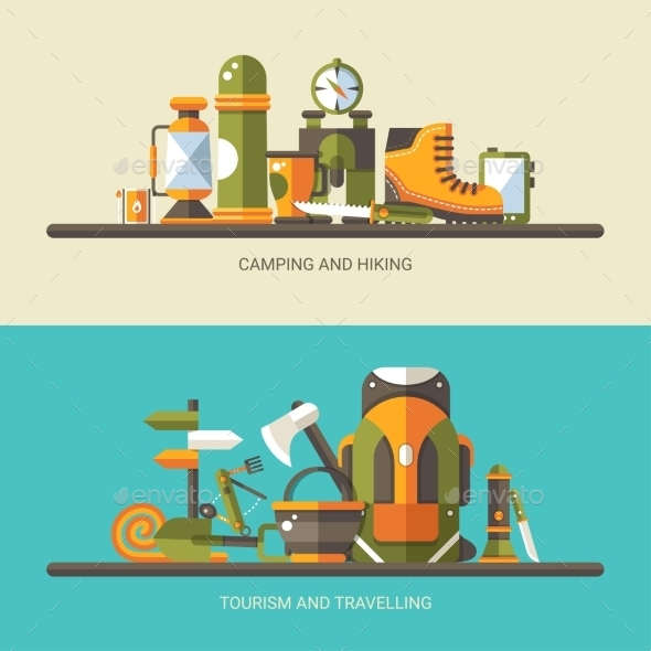 GraphicRiver Modern Flat Design Illustration of Camping 11375528