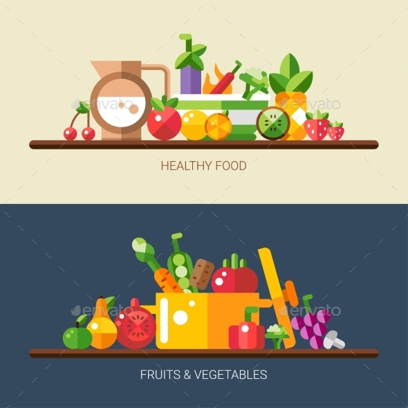 GraphicRiver Set of Flat Design Fruits and Vegetables Icons 11375530