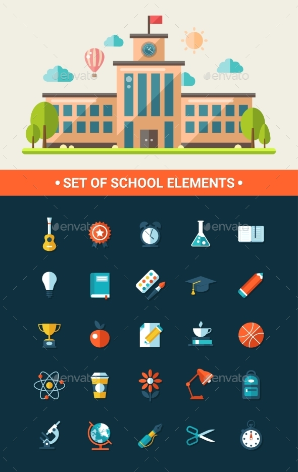 GraphicRiver Set of Flat Design School Icons 11375531