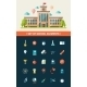 Set of Flat Design School Icons - GraphicRiver Item for Sale