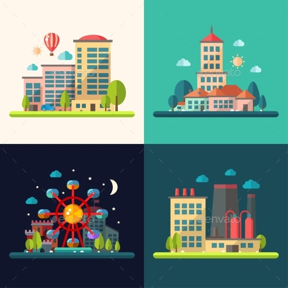 GraphicRiver Modern Flat Design Conceptual City Illustrations 11375532