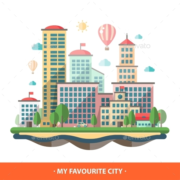 GraphicRiver Modern Flat City Illustration 11375534