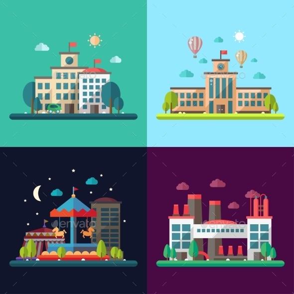 GraphicRiver Set of Modern Flat Design Conceptual City 11375535