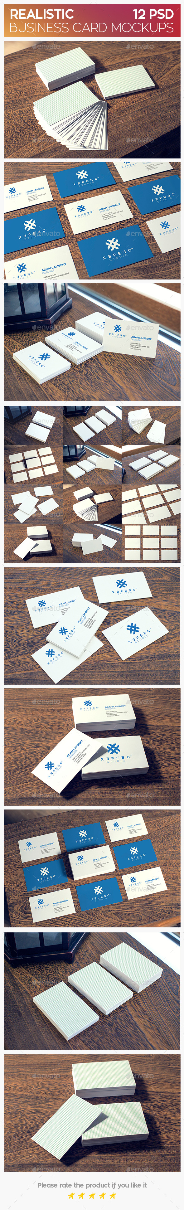 GraphicRiver Realistic Business Card Mockups 11375812