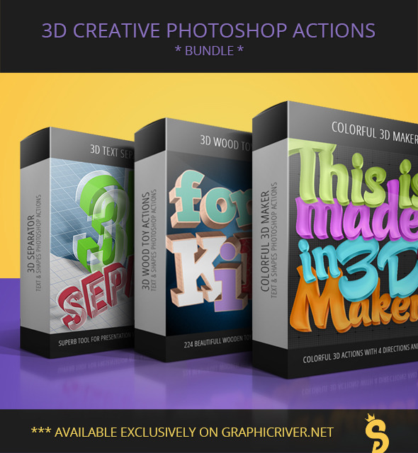 GraphicRiver 3D Creative Text & Shape Actions Bundle 11376815
