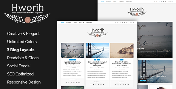 ThemeForest Hworih A Clean & Responsive WordPress Blog Theme 11023536
