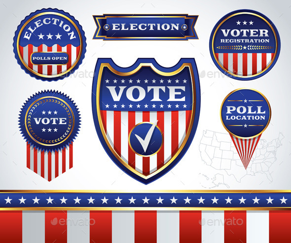 GraphicRiver Set of Election and Voting Badges 11377736