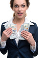 young business woman holding money - PhotoDune Item for Sale