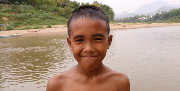 Kid Smiles After Swimming