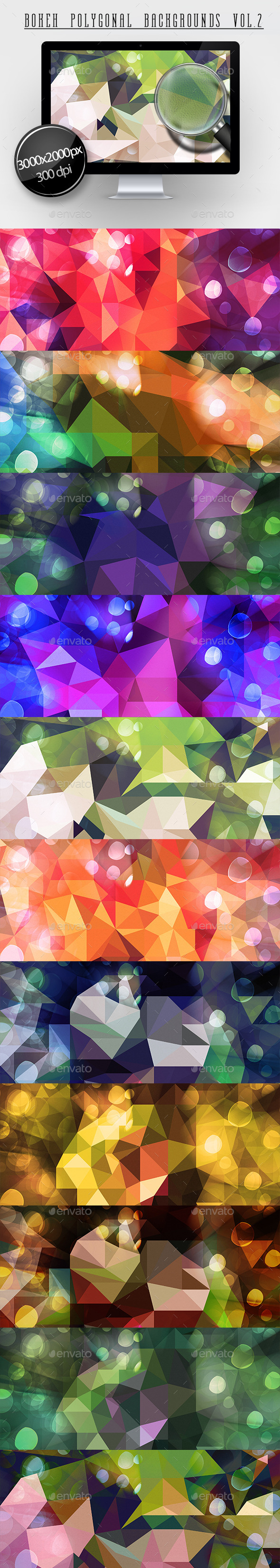 GraphicRiver Bokeh Polygonal Backgrounds Vol.2 11379084