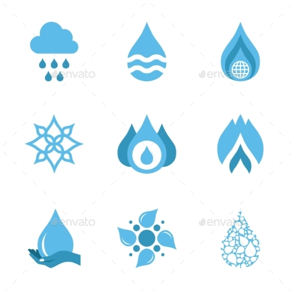 GraphicRiver Water Drop Shapes Collection Vector Icon 11379243
