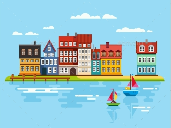 GraphicRiver Harbor Waterfront with Boats on River 11380037