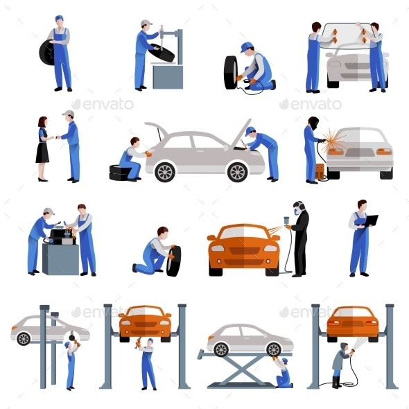 GraphicRiver Mechanic Icons Set 11380409