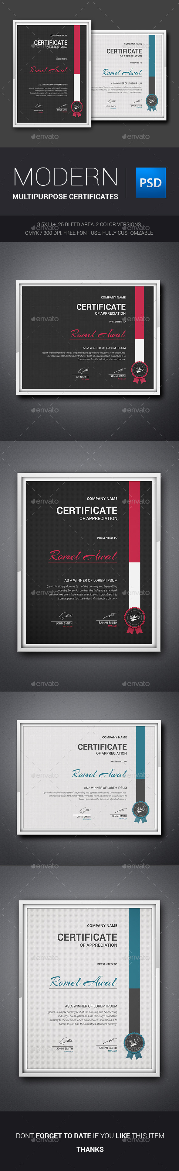 GraphicRiver Modern Multipurpose Certificates 11380454