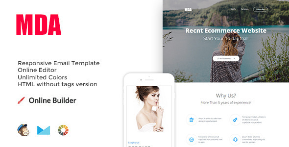 ThemeForest Mda Modern Email Template & Online Access 11290502