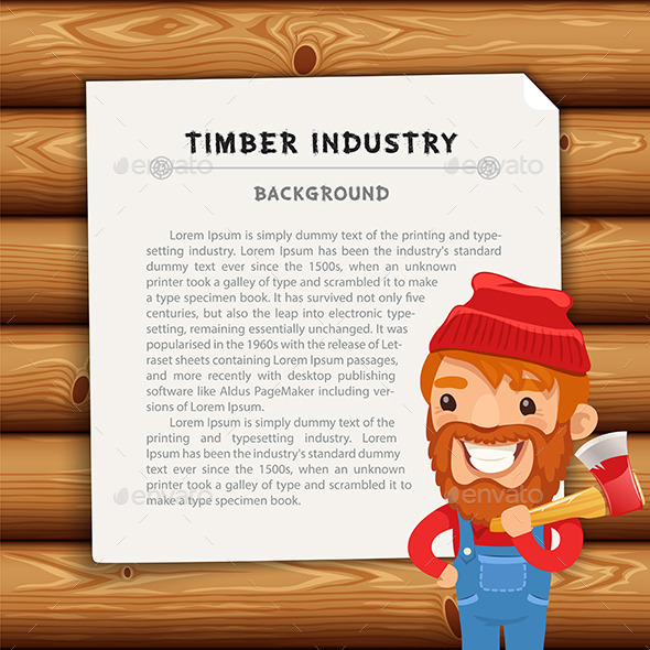 GraphicRiver Timber Industry Background with Lumberjack 11375358